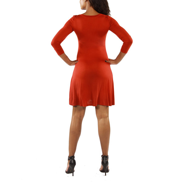 24/7 Comfort Apparel Long Sleeve Fit & Flare Dress