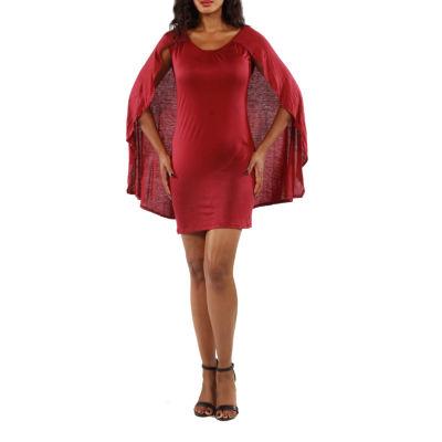 24/7 Comfort Apparel Spectacular Caped Sheath Dress