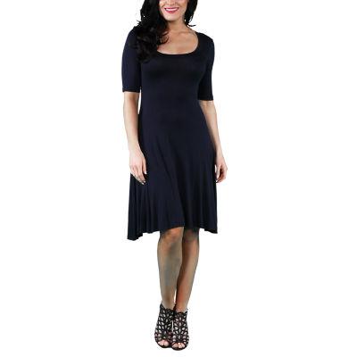 24/7 Comfort Apparel 3/4 Sleeve Fit & Flare Dress