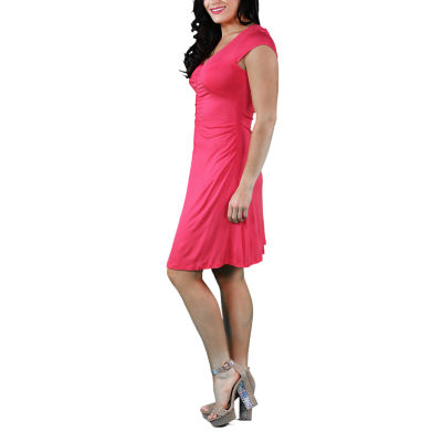 24/7 Comfort Apparel Shirred Front Fit & Flare Dress