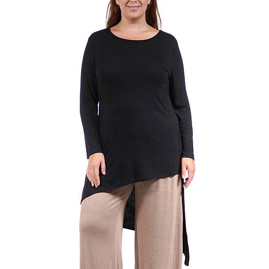 24/7 Comfort Apparel-Plus Extra Long Diagonal Womens Tunic Top