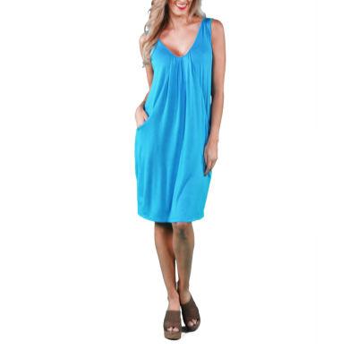 24/7 Comfort Apparel Drape Front Shift Dress