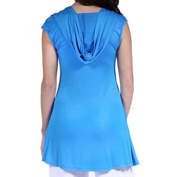 24/7 Comfort Apparel Sleeveless Tunic Knit Hoodie