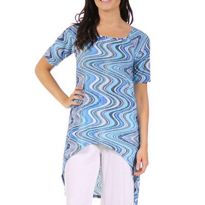 24/7 Comfort Apparel Asymmetrical Swirl Tunic Top