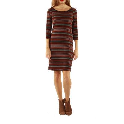 24/7 Comfort Apparel Irresistible Striped Shift Dress