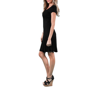 24/7 Comfort Apparel Short Sleeve A-Line Dress