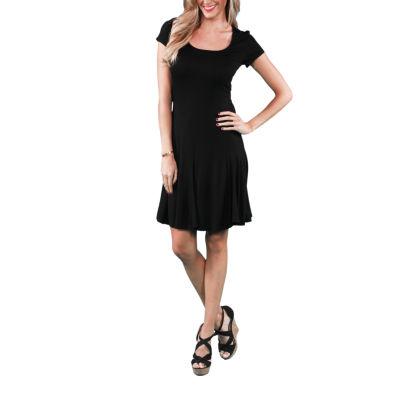 24/7 Comfort Apparel Short Sleeve A-Line Dress