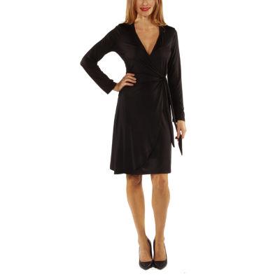 24/7 Comfort Apparel Deep V-Neck Wrap Dress