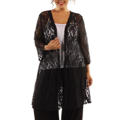 24/7 Comfort Apparel Elegant Lace Cardigan-Plus