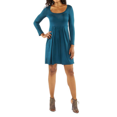 24/7 Comfort Apparel Must Have Midi Fit & Flare Dress