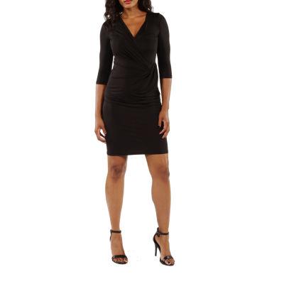 24/7 Comfort Apparel 3/4 Sleeve Wrap Dress