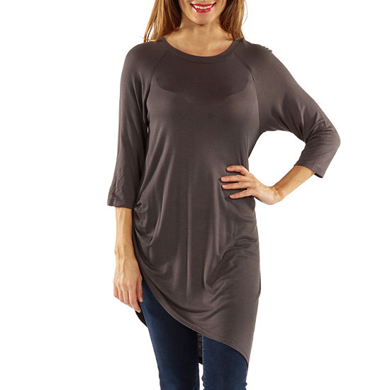 24/7 Comfort Apparel Side Cinched Womens Tunic Top