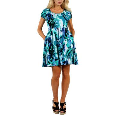 24/7 Comfort Apparel Summer Reef Fit & Flare Dress