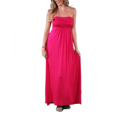 24/7 Comfort Apparel Strapless Maxi Dress
