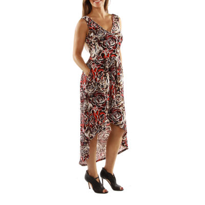 24/7 Comfort Apparel Dazzling High Low Swirl Maxi Dress