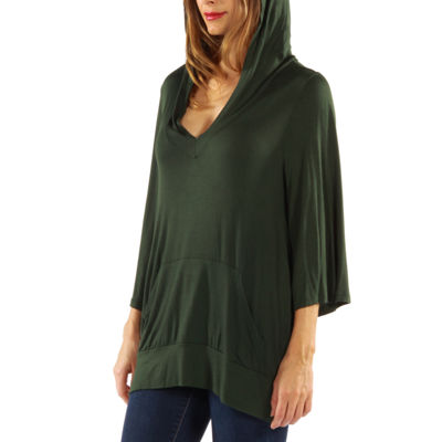 24/7 Comfort Apparel 3/4 Sleeve Slip-On Womens Knit Hoodie