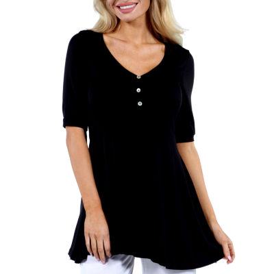 24/7 Comfort Apparel Elbow Length Sleeve Tunic Top