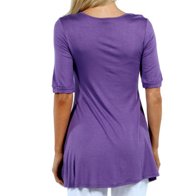 24/7 Comfort Apparel Elbow Length Sleeve Tunic Top