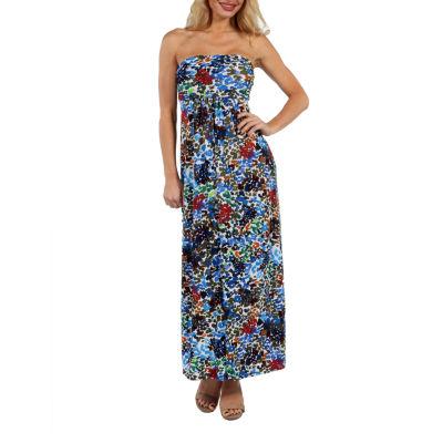 24/7 Comfort Apparel Dappled Florals Maxi Dress