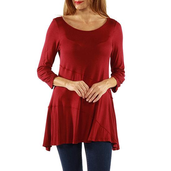 24/7 Comfort Apparel 3/4 Merrow Stitch Womens Tunic Top