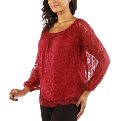 24/7 Comfort Apparel So Pretty Black Lace Knit Blouse