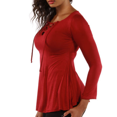 24/7 Comfort Apparel Lace Up Keyhole Tunic Top