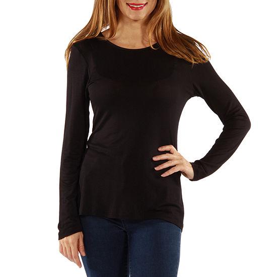 24/7 Comfort Apparel Long Sleeve Knit Womens T-Shirt