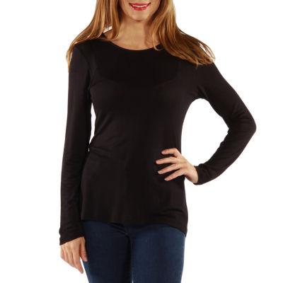 24/7 Comfort Apparel Long Sleeve Knit T-Shirt-Womens