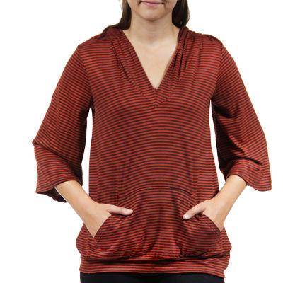 24/7 Comfort Apparel 3/4 Sleeve Striped Knit Hoodie