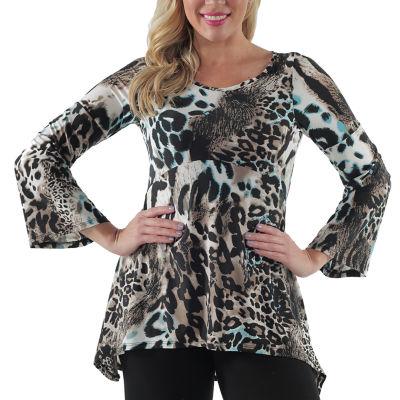 24/7 Comfort Apparel Animal Print Tunic Top