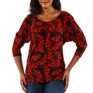 24/7 Comfort Apparel Red & Black Tunic Top