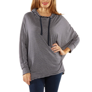 24/7 Comfort Apparel Striped Dolman Knit Hoodie