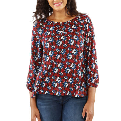 24/7 Comfort Apparel Red White And Blues T-Shirt-Womens