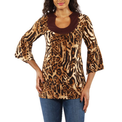 24/7 Comfort Apparel Loveley Leopard Tunic Top