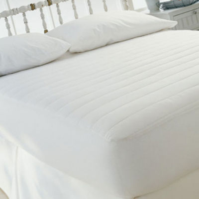 "Fitted Mattress Pad 15"" Skirt- 100% Cotton Cover - Polyester Fill - All Sizes"