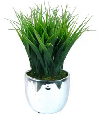 "Laura Ashely 11"" Tall 2 Pack Grass In Designer Silver Ceramic"