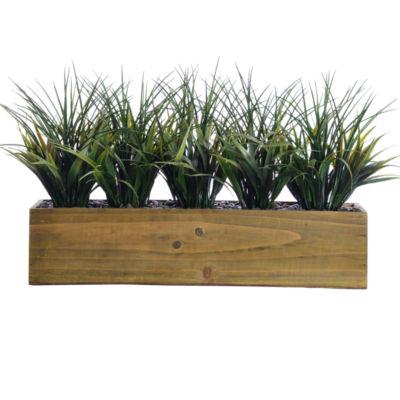 "Laura Ashley 12"" Tall Plastic Grass In Wooden Pot"