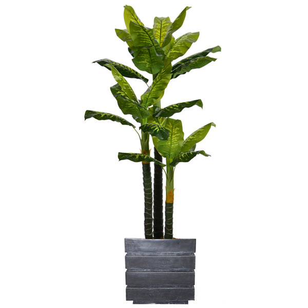 Laura Ashley 78 Inch Tall Real Touch Evergreen InFaux-Concrete Planter