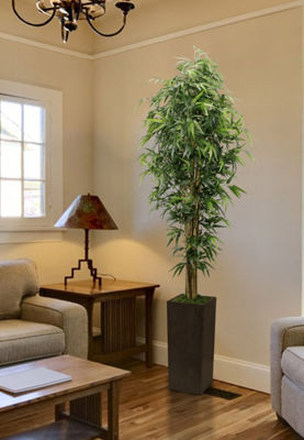 84 Inch Tall Silk Bamboo Tree With Brown And Bronze Wood Planter