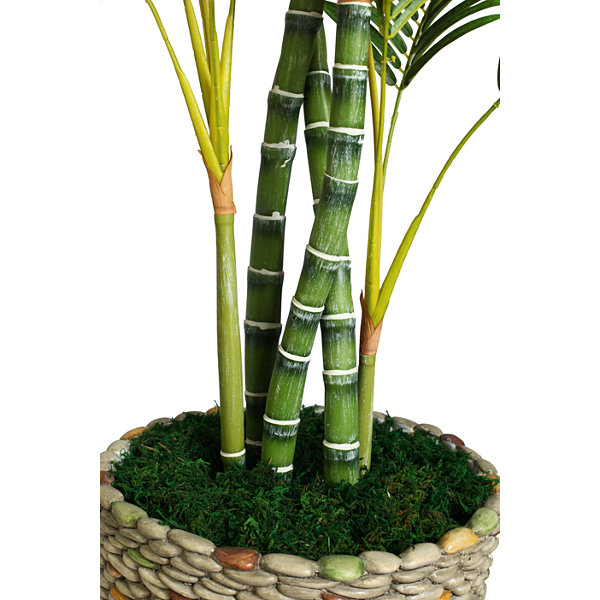 86 Inch Tall Palm Tree In 16 Inch Fiberstone Faux-Pebble Planter