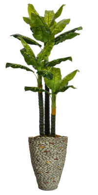 Laura Ashley 86 Inch Tall Real Touch Evergreen In Faux-Pebble Planter