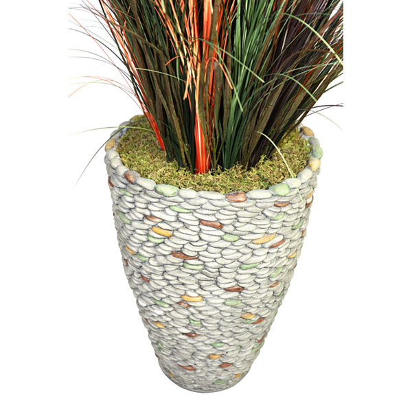 Laura Ashley 74 Inch Tall Onion Grass With Cattails In 16 Inch Faux-Pebble Planter