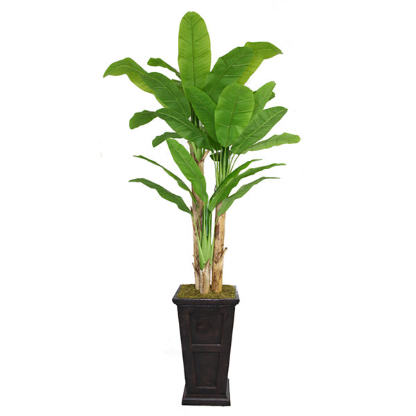 Laura Ashley 91 Inch Tall Banana Tree With Real Touch Leaves In Planter