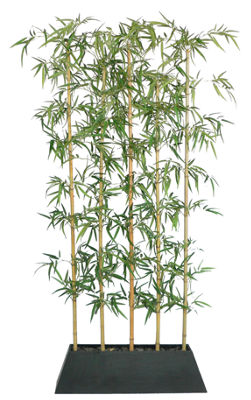 96 Inch Tall Silk Bamboo Tree Screen With Wood Planter