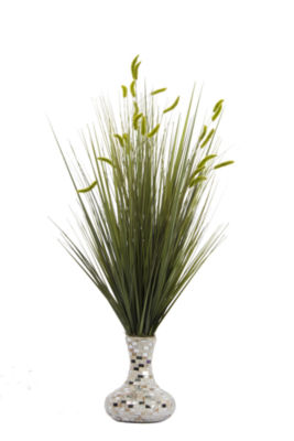 Laura Ashley Onion Grass With Cattail In Mosaic Vase