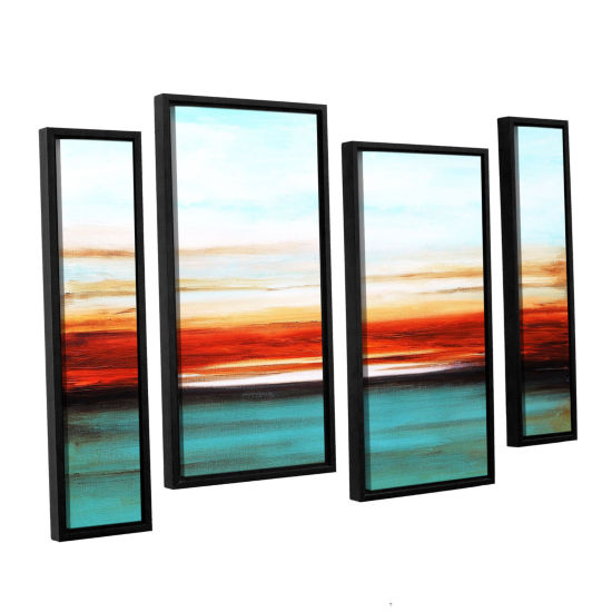 Brushstone Sunset 4-pc. Floater Framed Staggered Canvas Wall Art