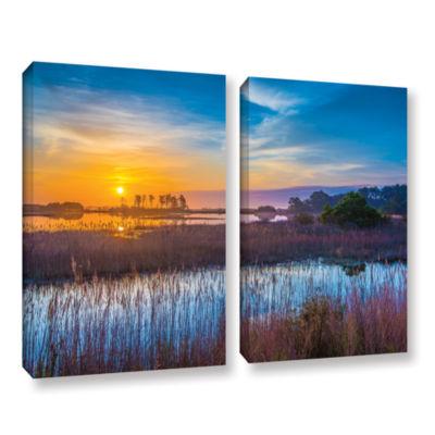 Brushstone Salt Marsh Sunrise 2-pc. Gallery Wrapped Canvas Wall Art