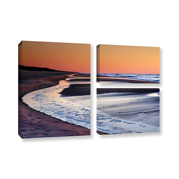 Brushstone Tide Pools at Sunrise 3-pc. Flag Gallery Wrapped Canvas Wall Art