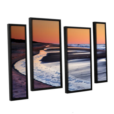 Brushstone Tide Pools at Sunrise 4-pc. Floater Framed Staggered Canvas Wall Art