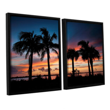 Brushstone Tropical Sunset II 2-pc. Floater FramedCanvas Wall Art